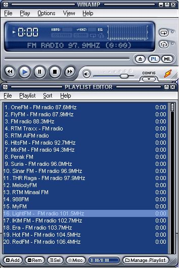 Winamp Playlist - List Of FM Radio Stations